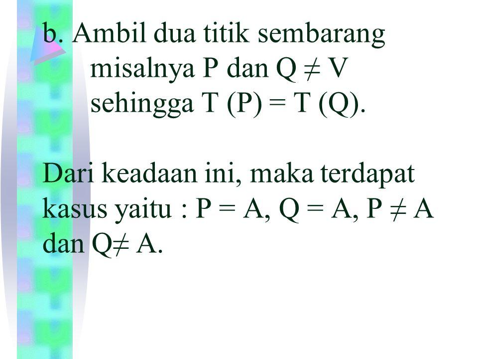 Untuk P = A, T(P) = P = A, sedangkan T (P) = T (Q) = A.