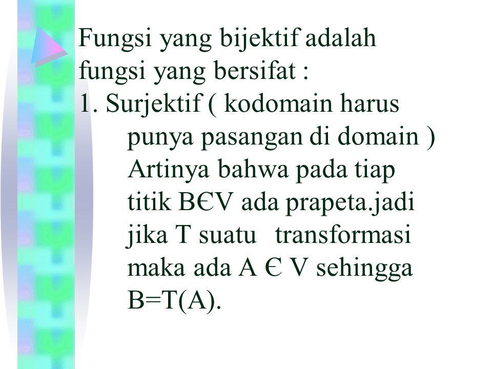 Fungsi yang bijektif adalah fungsi yang bersifat : 1. Surjektif ( kodomain harus punya pasangan di domain ) Artinya bahwa pada tiap titik BЄV ada prap