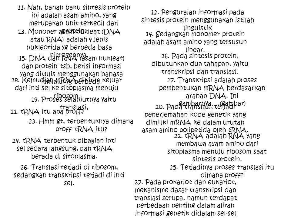 11. Nah, bahan baku sintesis protein ini adalah asam amino, yang merupakan unit terkecil dari protein. 12. Penguraian informasi pada sintesis protein