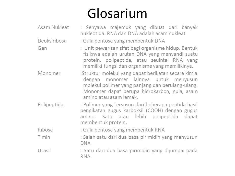 Glosarium Asam Nukleat: Senyawa majemuk yang dibuat dari banyak nukleotida. RNA dan DNA adalah asam nukleat Deoksiribosa: Gula pentosa yang membentuk