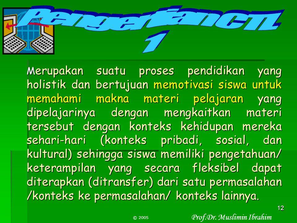 Prof.Dr. Muslimin Ibrahim © 2005 11 Bukanlah sesuatu yang baru, tapi pembelajaran yang menggabungkan semua praktek-praktek pembelajaran yang unggul di