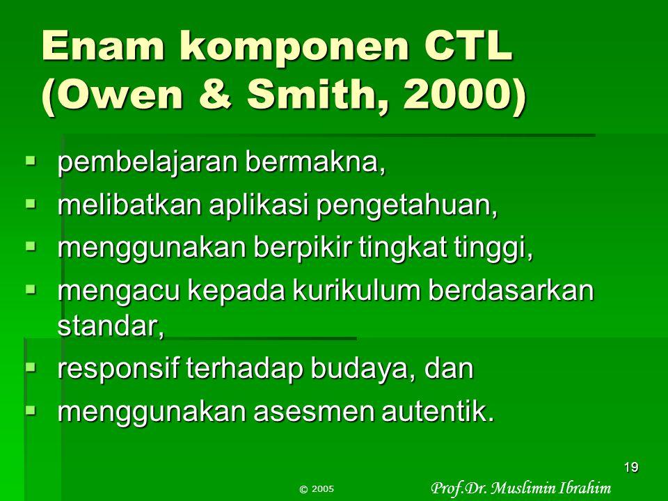 Prof.Dr. Muslimin Ibrahim © 2005 18 Delapan Komponen CTL (Lanjutan)  Berkolaborasi, bekerjasama, berkomunikasi,  Berpikir kritis dan kreatif  Menca