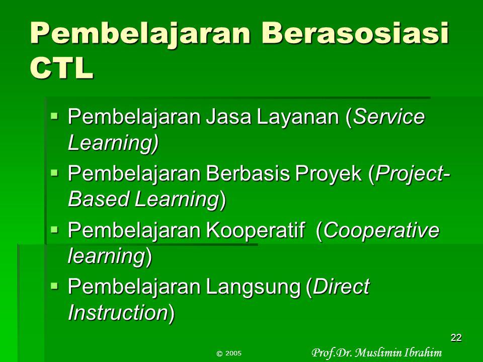 Prof.Dr. Muslimin Ibrahim © 2005 21 Pembelajaran Berasosiasi CTL  Pembelajaran autentik (Authentics learning)  Pembelajaran Inkuiri (Inquiry learnin