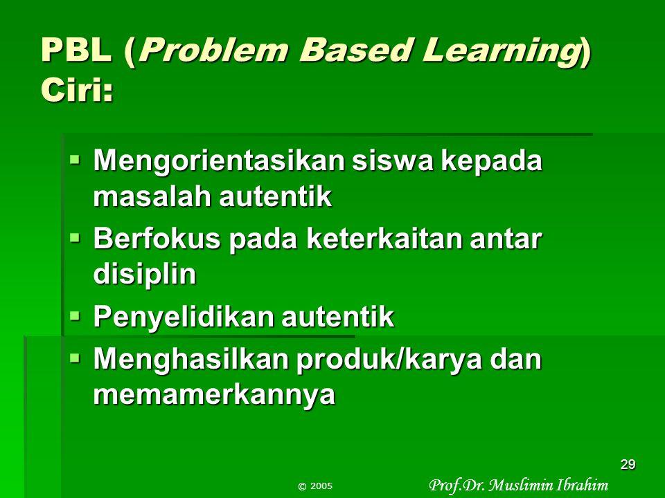 """Prof.Dr. Muslimin Ibrahim © 2005 28 Apa itu Pembelajaran Berdasarkan Masalah atau PBL? """" Suatu model pembelajaran yang didasarkan pada prinsip menggun"""