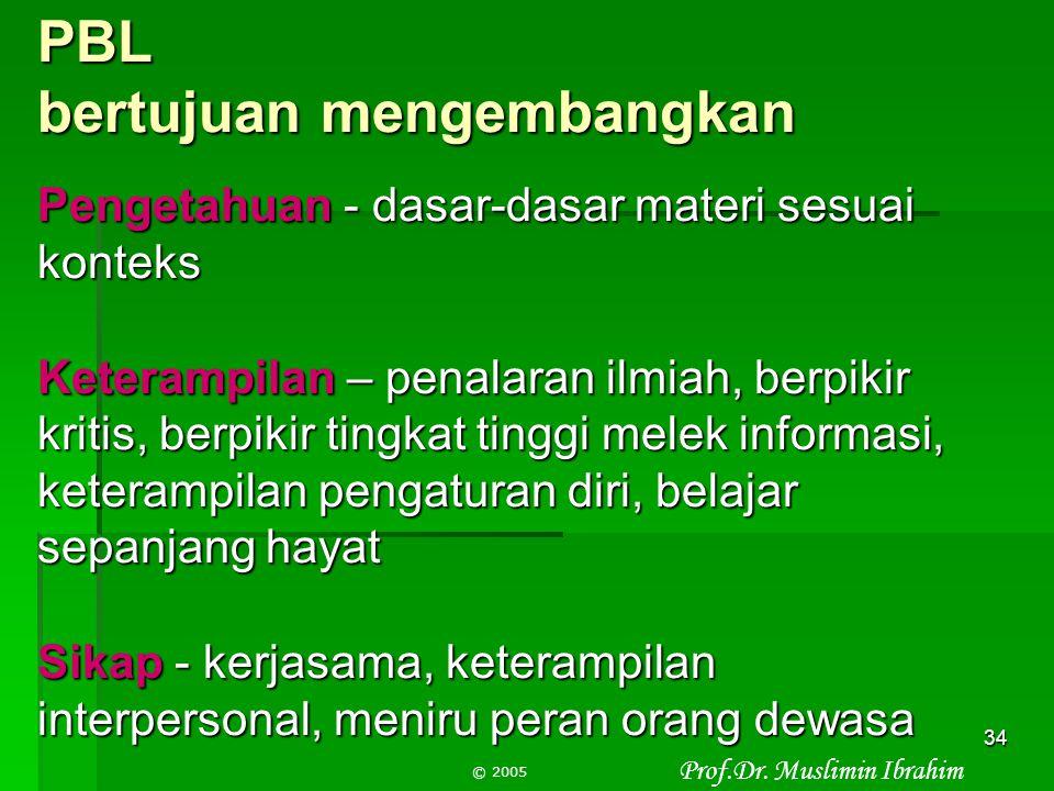 Prof.Dr. Muslimin Ibrahim © 2005 33 Kapan PBL digunakan?  Bila mengajarkan keterampilan berpikir dan keterampilan memecahkan masalah  Bila melatih p