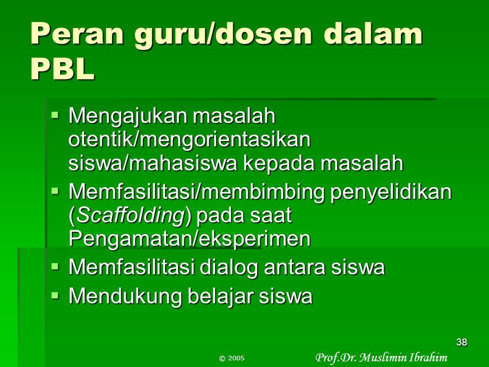 Prof.Dr. Muslimin Ibrahim © 2005 37 Penyelidikan kelompok/Individu  Melakukan pengamatan: untuk menjawab pertanyaan—hasilnya deskripsi tentang sesuat