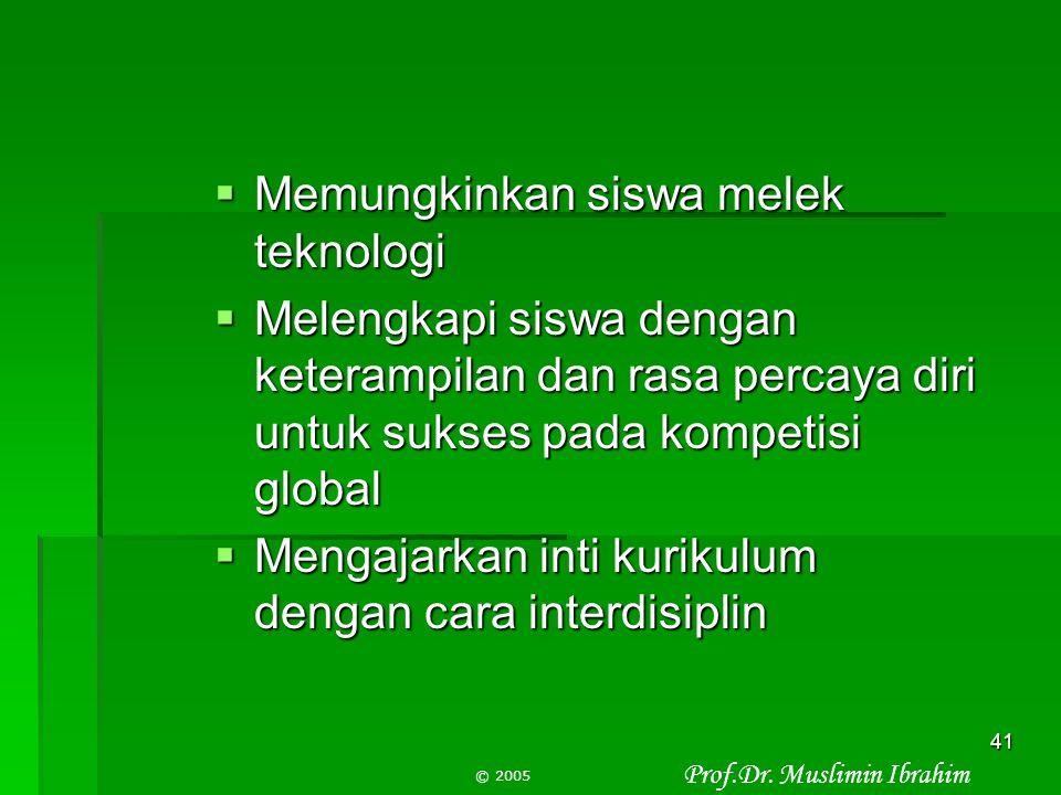 Prof.Dr. Muslimin Ibrahim © 2005 40 Mengapa menggunakan PBL Mengapa menggunakan PBL  Meningkat pendidikan untuk semua siswa  Mengubah pola mengajar