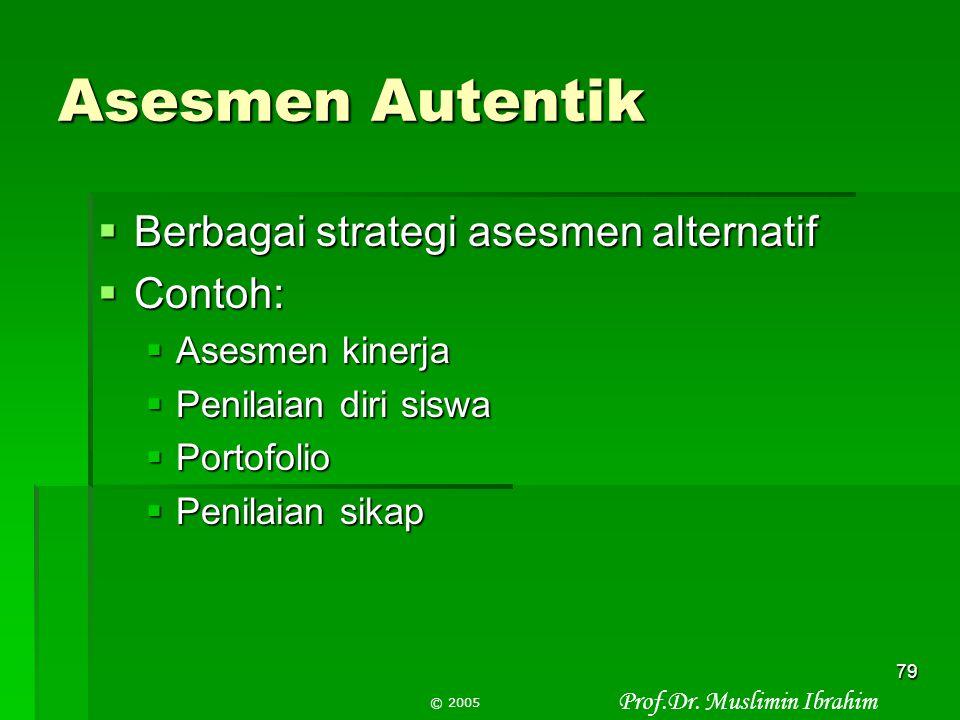 Prof.Dr. Muslimin Ibrahim © 2005 78 Asesmen pada CTL  CTL menggunakan berbagai strategi pembelajaran untuk mengembangkan seluruh potensi mahasiswa 