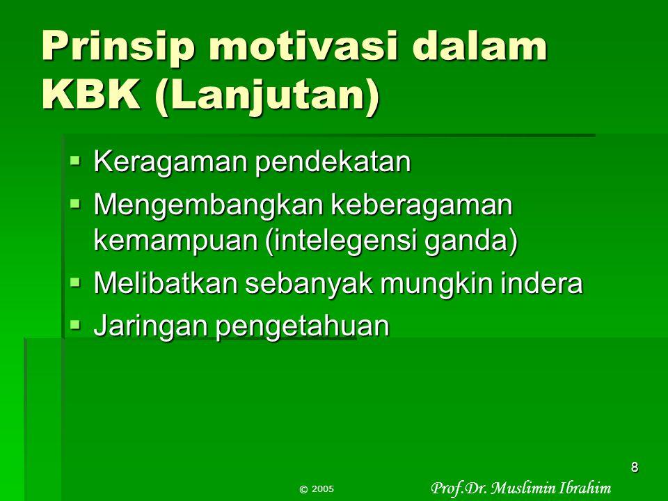 Prof.Dr. Muslimin Ibrahim © 2005 7 4.Prinsip motivasi dalam KBK  Kebermaknaan  Pemberdayaan pengetahuan prasyarat  Menggunakan model/contoh  Komun