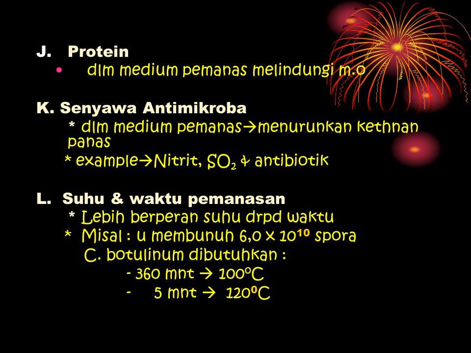J.Protein dlm medium pemanas melindungi m.o K. Senyawa Antimikroba * dlm medium pemanas  menurunkan kethnan panas * example  Nitrit, SO 2 & antibiot