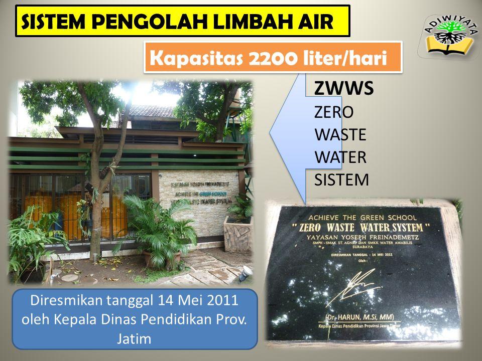 ZWWS ZERO WASTE WATER SISTEM Diresmikan tanggal 14 Mei 2011 oleh Kepala Dinas Pendidikan Prov.