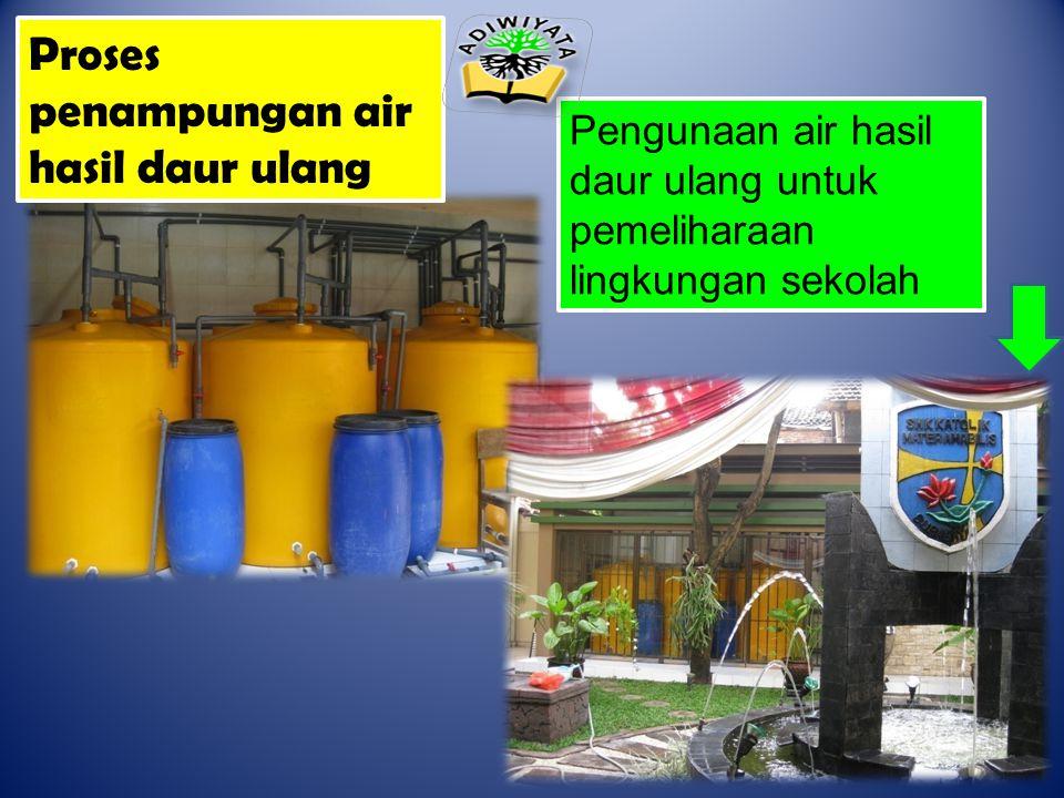 Proses penampungan air hasil daur ulang Pengunaan air hasil daur ulang untuk pemeliharaan lingkungan sekolah