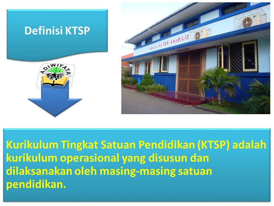 KTSP terdiri atas : tujuan pendidikan tingkat satuan pendidikan, struktur dan muatan kurikulum tingkat satuan pendidikan, kalender pendidikan, dan silabus.