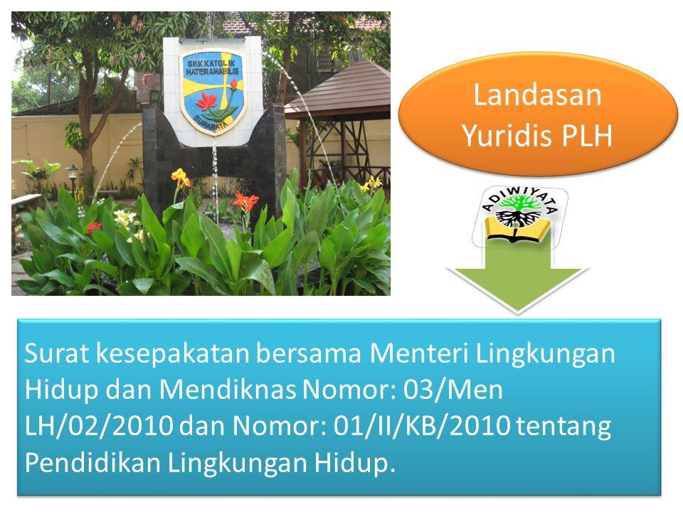 Surat kesepakatan bersama Menteri Lingkungan Hidup dan Mendiknas Nomor: 03/Men LH/02/2010 dan Nomor: 01/II/KB/2010 tentang Pendidikan Lingkungan Hidup.