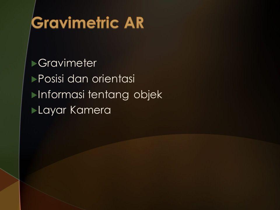  Gravimeter  Posisi dan orientasi  Informasi tentang objek  Layar Kamera