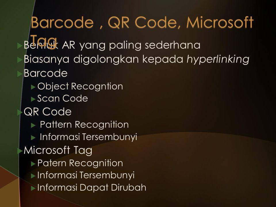  Bentuk AR yang paling sederhana  Biasanya digolongkan kepada hyperlinking  Barcode  Object Recogntion  Scan Code  QR Code  Pattern Recognition
