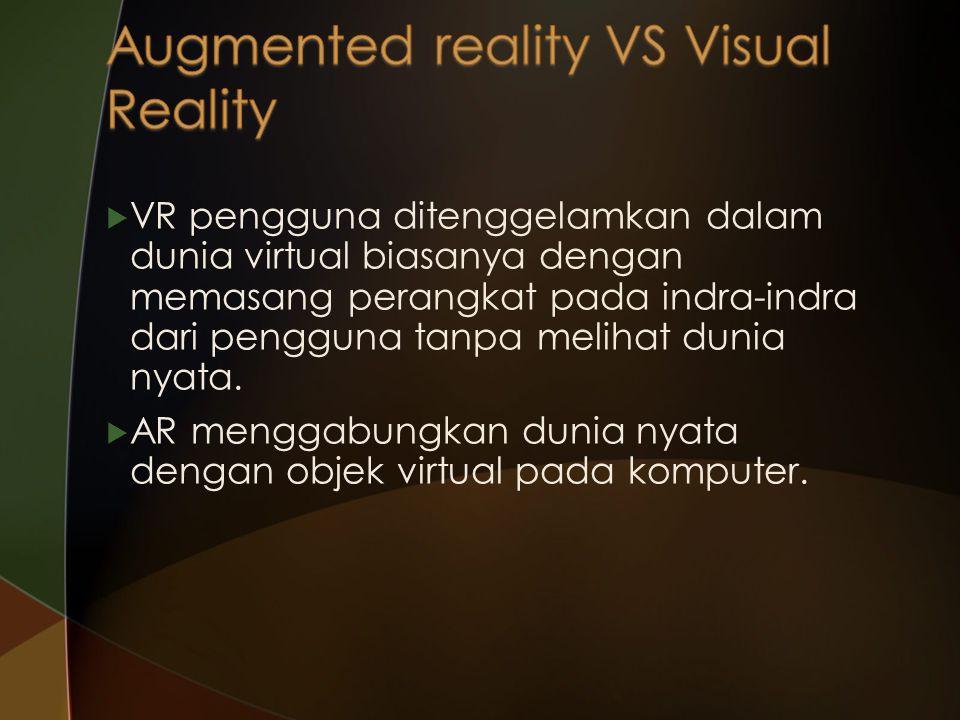  VR pengguna ditenggelamkan dalam dunia virtual biasanya dengan memasang perangkat pada indra-indra dari pengguna tanpa melihat dunia nyata.  AR men
