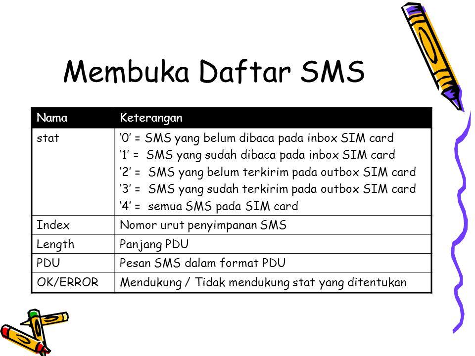 Membuka Daftar SMS NamaKeterangan stat'0' = SMS yang belum dibaca pada inbox SIM card '1' = SMS yang sudah dibaca pada inbox SIM card '2' = SMS yang belum terkirim pada outbox SIM card '3' = SMS yang sudah terkirim pada outbox SIM card '4' = semua SMS pada SIM card IndexNomor urut penyimpanan SMS LengthPanjang PDU PDUPesan SMS dalam format PDU OK/ERRORMendukung / Tidak mendukung stat yang ditentukan