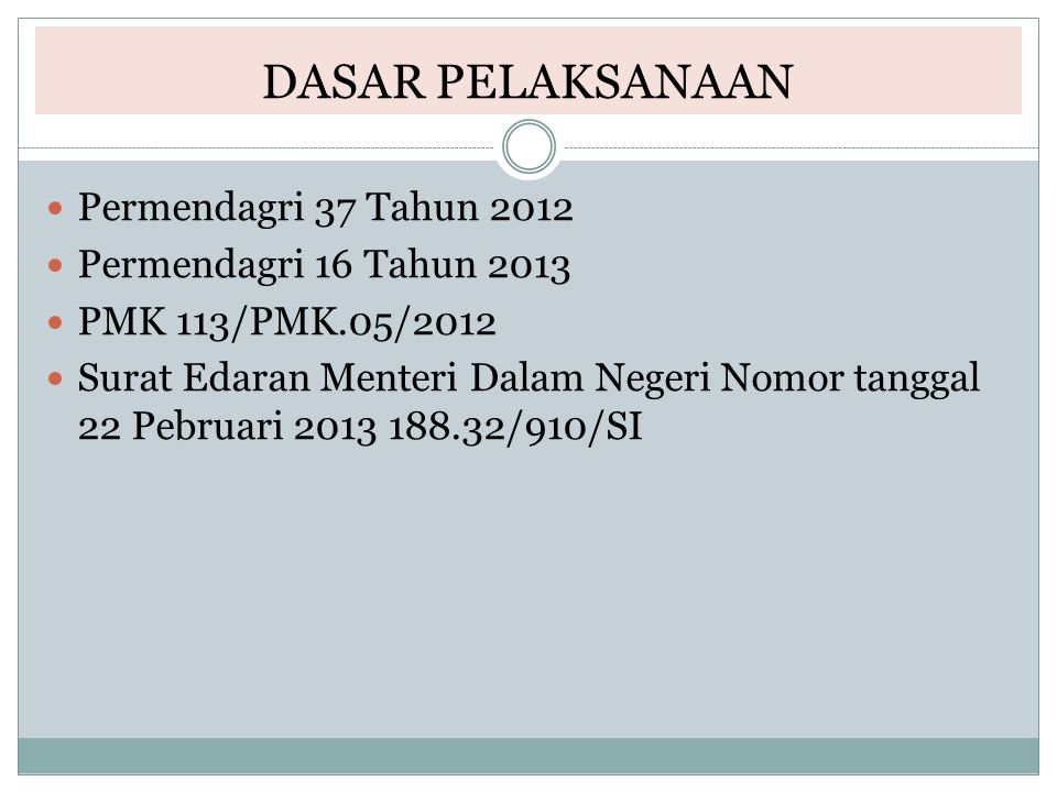 DASAR PELAKSANAAN Permendagri 37 Tahun 2012 Permendagri 16 Tahun 2013 PMK 113/PMK.05/2012 Surat Edaran Menteri Dalam Negeri Nomor tanggal 22 Pebruari
