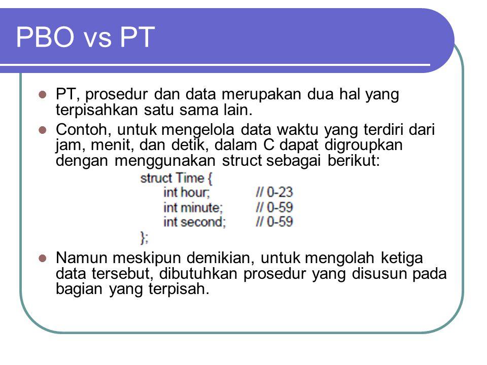 PBO vs PT PT, prosedur dan data merupakan dua hal yang terpisahkan satu sama lain. Contoh, untuk mengelola data waktu yang terdiri dari jam, menit, da
