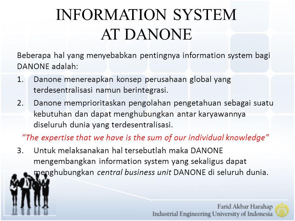 APPLICATION OF INFORMATION SYSTEM AT DANONE 1.Pengembangan Growth Program untuk menghubungkan central business yang ada di seluruh dunia, pada 2003 Perubahan menjadi growth too untuk menciptakan akselerasi seiring DANONE yang semakin berkembang.