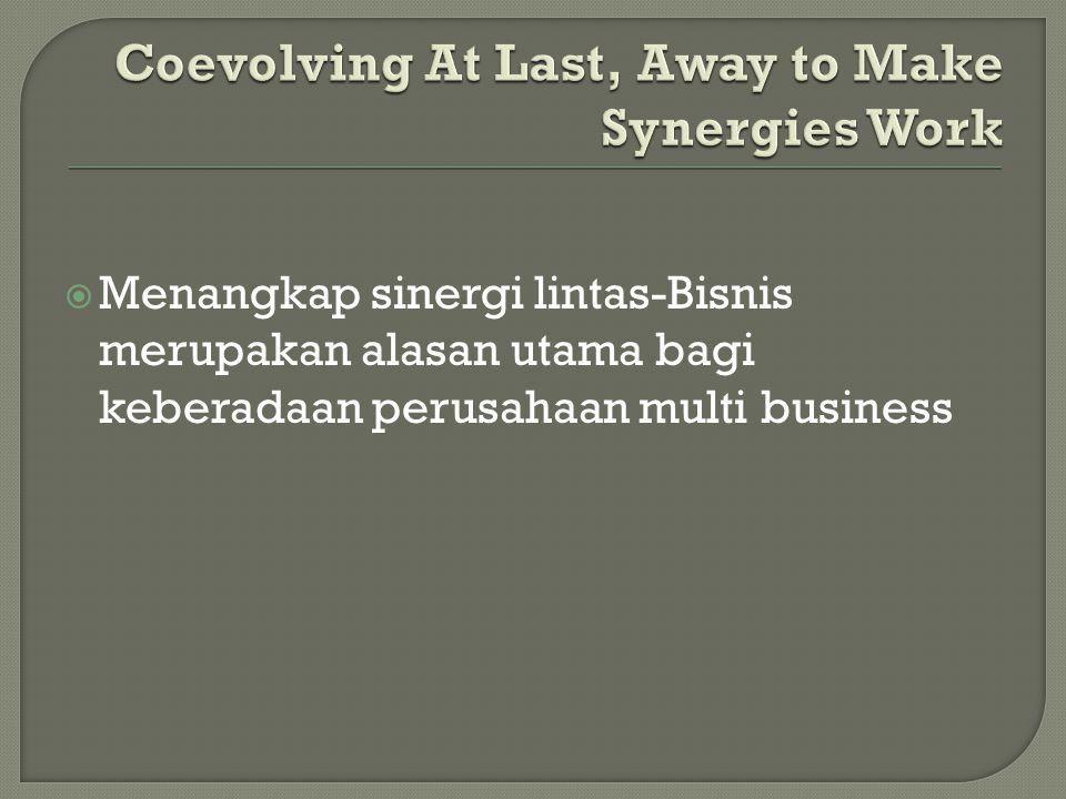  Menangkap sinergi lintas-Bisnis merupakan alasan utama bagi keberadaan perusahaan multi business