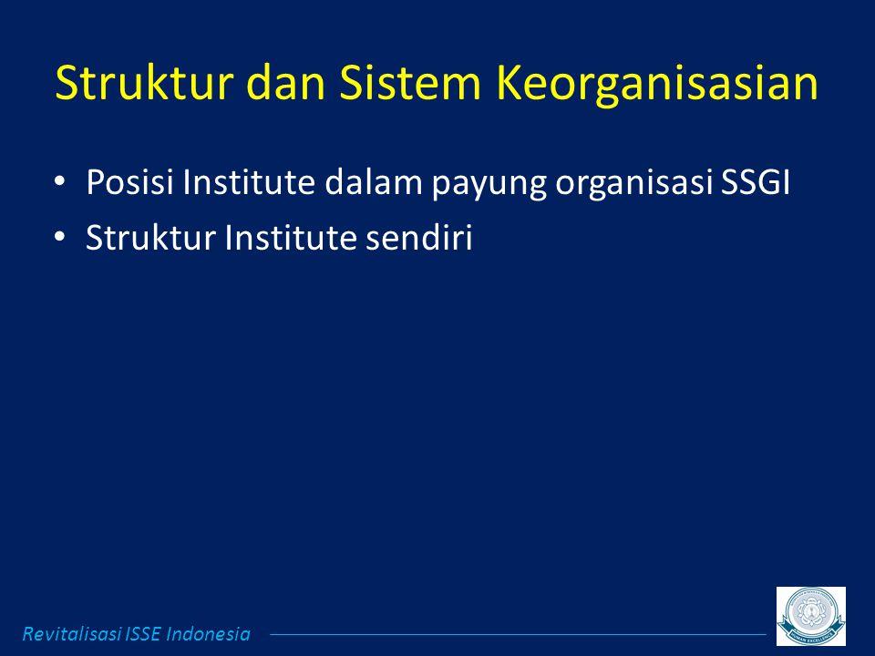 Struktur dan Sistem Keorganisasian Posisi Institute dalam payung organisasi SSGI Struktur Institute sendiri Revitalisasi ISSE Indonesia