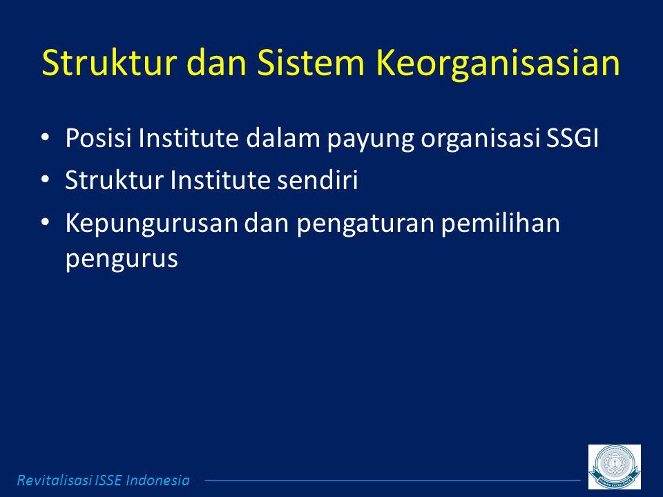Struktur dan Sistem Keorganisasian Posisi Institute dalam payung organisasi SSGI Struktur Institute sendiri Kepungurusan dan pengaturan pemilihan pengurus Revitalisasi ISSE Indonesia