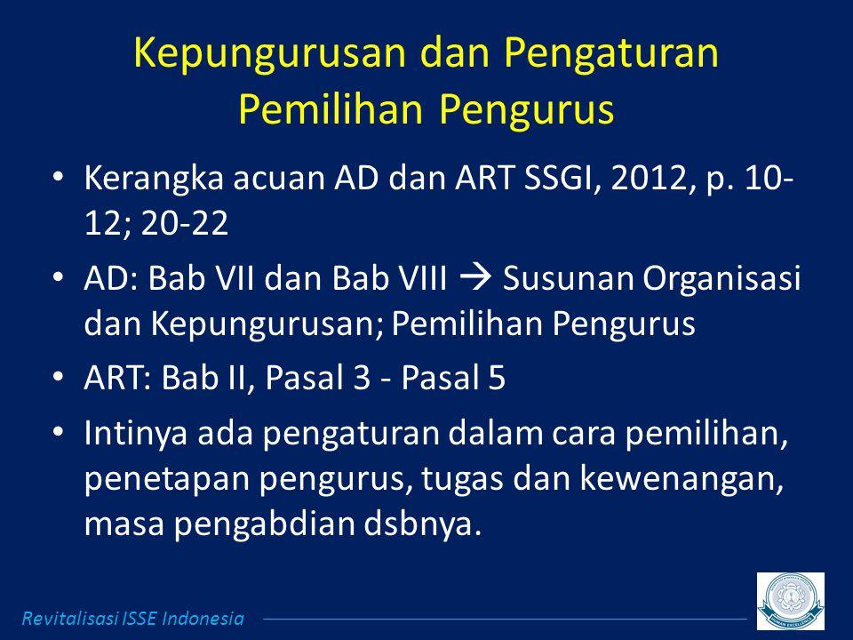 Kepungurusan dan Pengaturan Pemilihan Pengurus Kerangka acuan AD dan ART SSGI, 2012, p.