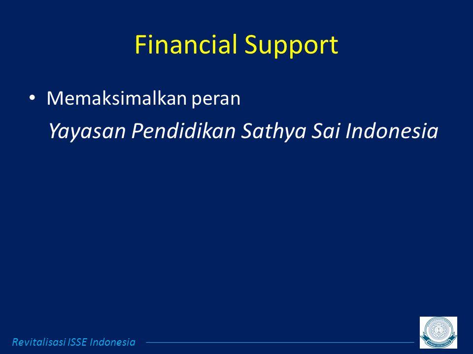 Financial Support Memaksimalkan peran Yayasan Pendidikan Sathya Sai Indonesia Revitalisasi ISSE Indonesia