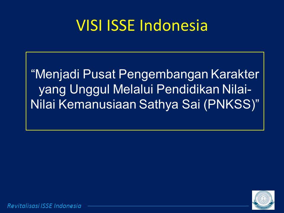 VISI ISSE Indonesia Menjadi Pusat Pengembangan Karakter yang Unggul Melalui Pendidikan Nilai- Nilai Kemanusiaan Sathya Sai (PNKSS) Revitalisasi ISSE Indonesia