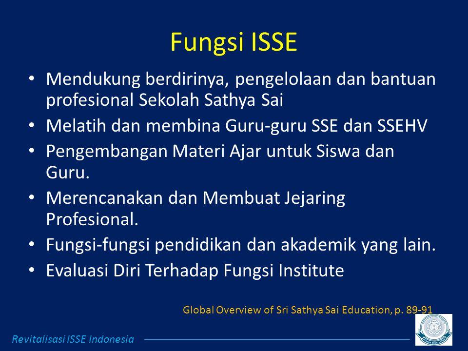 Fungsi ISSE Mendukung berdirinya, pengelolaan dan bantuan profesional Sekolah Sathya Sai Melatih dan membina Guru-guru SSE dan SSEHV Pengembangan Materi Ajar untuk Siswa dan Guru.