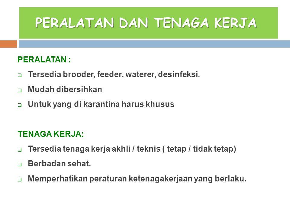 PERALATAN DAN TENAGA KERJA PERALATAN DAN TENAGA KERJA PERALATAN :  Tersedia brooder, feeder, waterer, desinfeksi.  Mudah dibersihkan  Untuk yang di