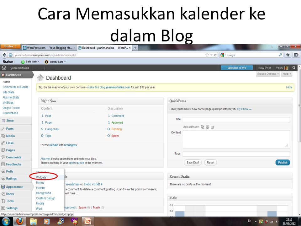 Cara Memasukkan kalender ke dalam Blog