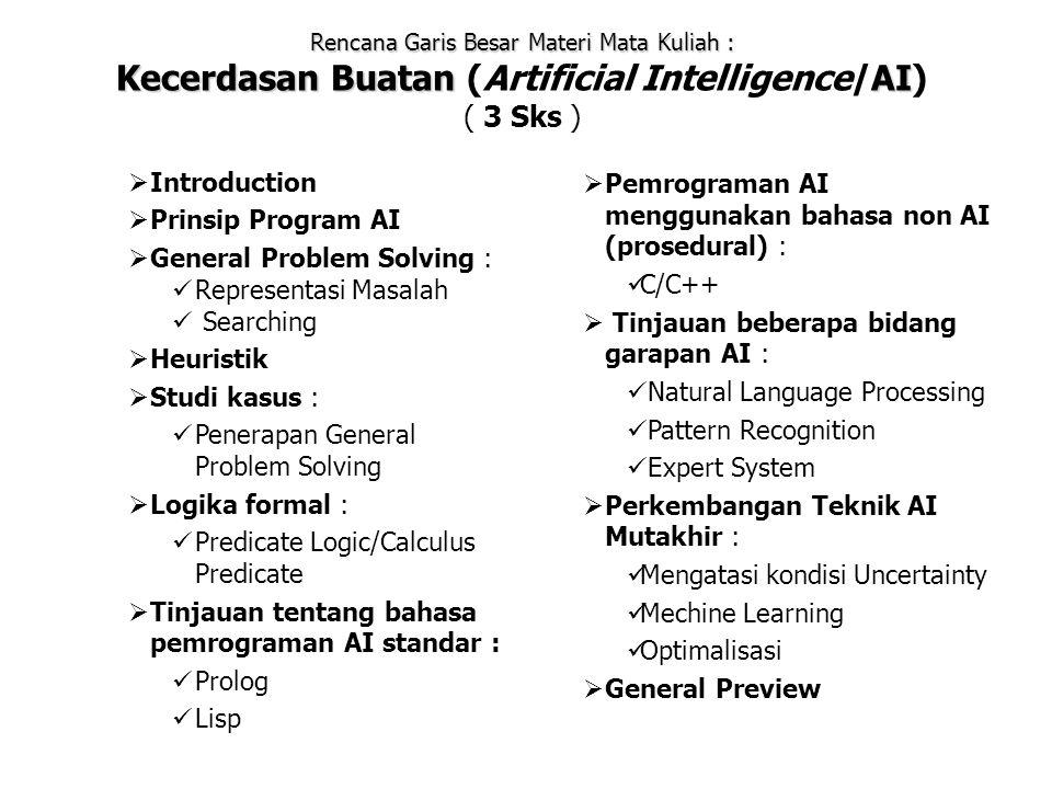 Rencana Garis Besar Materi Mata Kuliah : Kecerdasan BuatanAI Kecerdasan Buatan (Artificial Intelligence/AI) ( 3 Sks )  Introduction  Prinsip Program AI  General Problem Solving : Representasi Masalah Searching  Heuristik  Studi kasus : Penerapan General Problem Solving  Logika formal : Predicate Logic/Calculus Predicate  Tinjauan tentang bahasa pemrograman AI standar : Prolog Lisp  Pemrograman AI menggunakan bahasa non AI (prosedural) : C/C++  Tinjauan beberapa bidang garapan AI : Natural Language Processing Pattern Recognition Expert System  Perkembangan Teknik AI Mutakhir : Mengatasi kondisi Uncertainty Mechine Learning Optimalisasi  General Preview