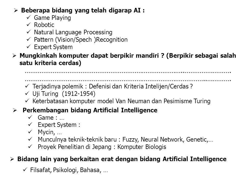  Beberapa bidang yang telah digarap AI : Game Playing Robotic Natural Language Processing Pattern (Vision/Spech )Recognition Expert System  Mungkinkah komputer dapat berpikir mandiri .