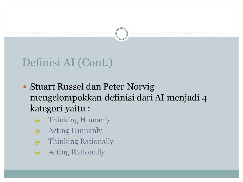Definisi AI (Cont.) Stuart Russel dan Peter Norvig mengelompokkan definisi dari AI menjadi 4 kategori yaitu : ⦿ Thinking Humanly ⦿ Acting Humanly ⦿ Th