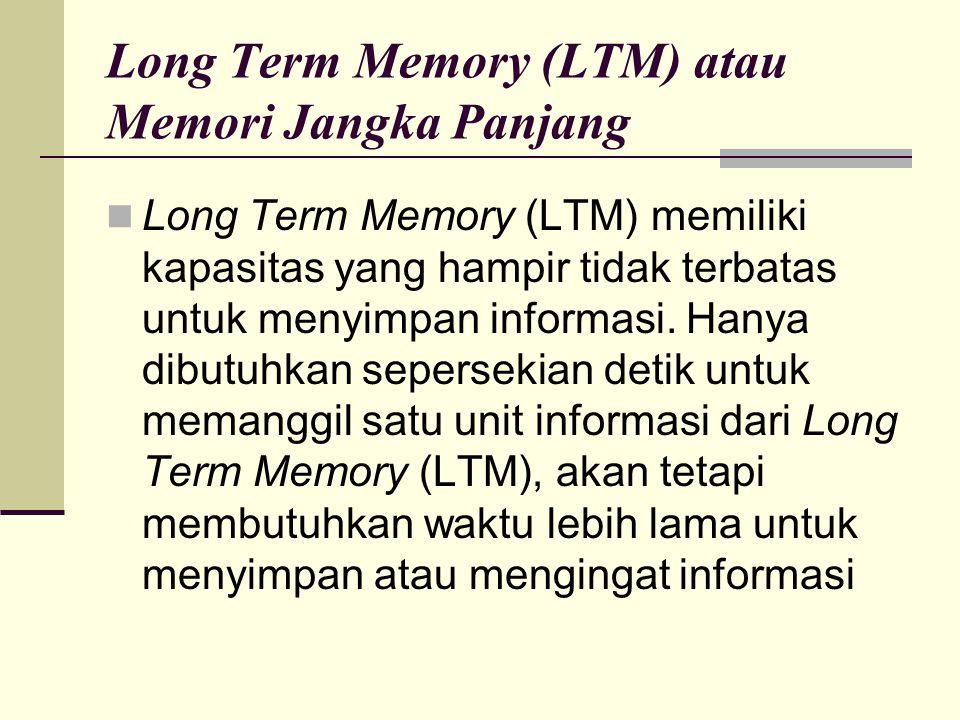 Long Term Memory (LTM) atau Memori Jangka Panjang Long Term Memory (LTM) memiliki kapasitas yang hampir tidak terbatas untuk menyimpan informasi. Hany