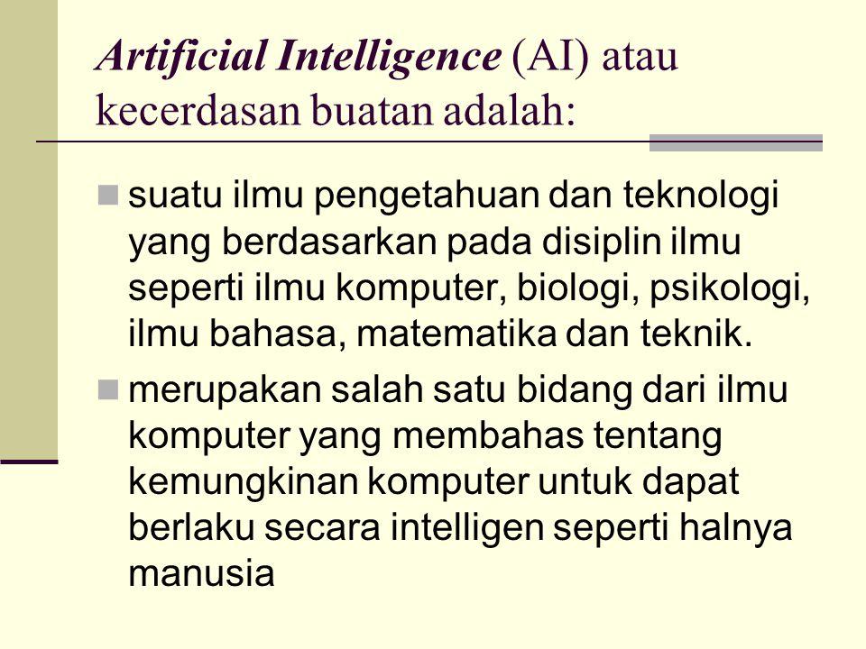 Artificial Intelligence (AI) atau kecerdasan buatan adalah: suatu ilmu pengetahuan dan teknologi yang berdasarkan pada disiplin ilmu seperti ilmu komp