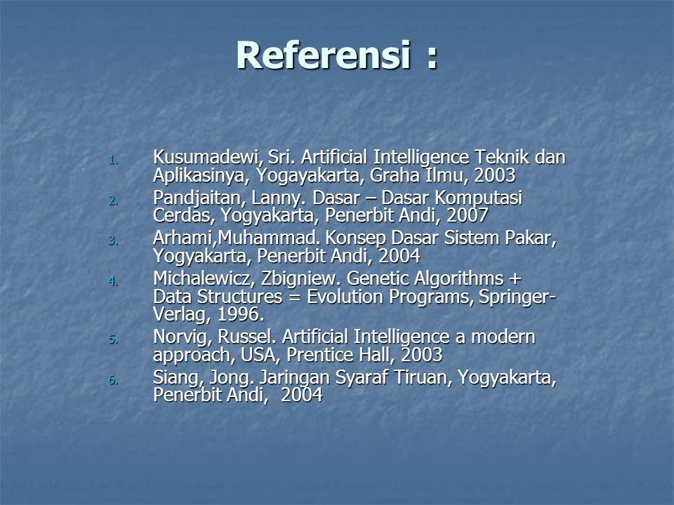 Referensi : 1. Kusumadewi, Sri. Artificial Intelligence Teknik dan Aplikasinya, Yogayakarta, Graha Ilmu, 2003 2. Pandjaitan, Lanny. Dasar – Dasar Komp