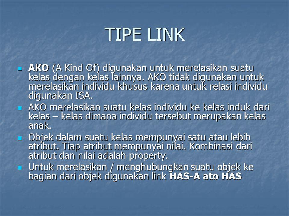 TIPE LINK AKO (A Kind Of) digunakan untuk merelasikan suatu kelas dengan kelas lainnya. AKO tidak digunakan untuk merelasikan individu khusus karena u