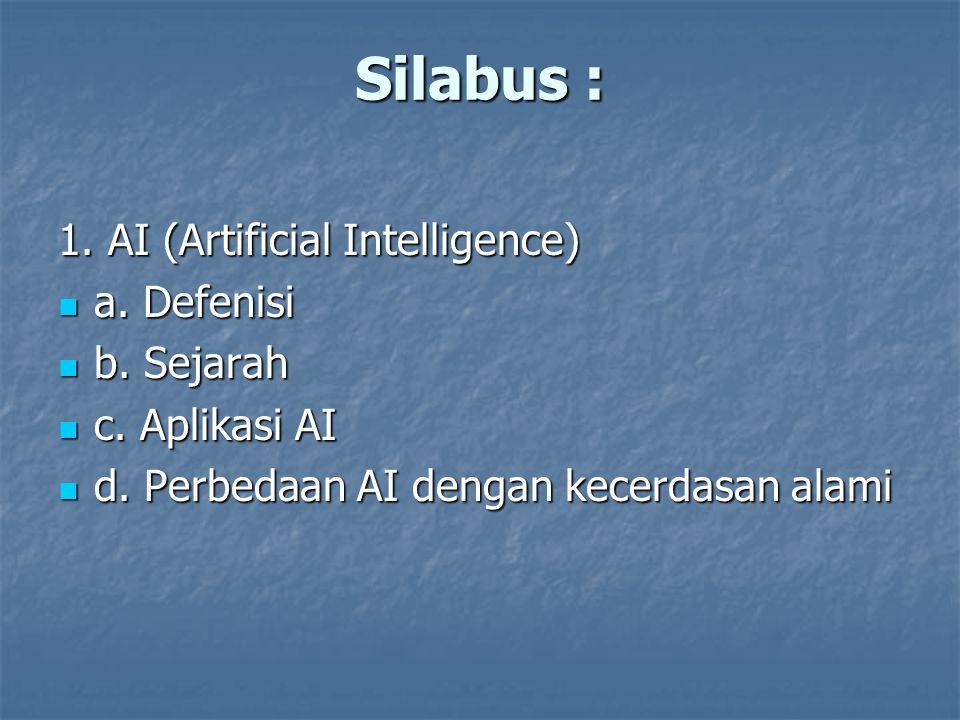 Silabus : 1. AI (Artificial Intelligence) a. Defenisi a. Defenisi b. Sejarah b. Sejarah c. Aplikasi AI c. Aplikasi AI d. Perbedaan AI dengan kecerdasa