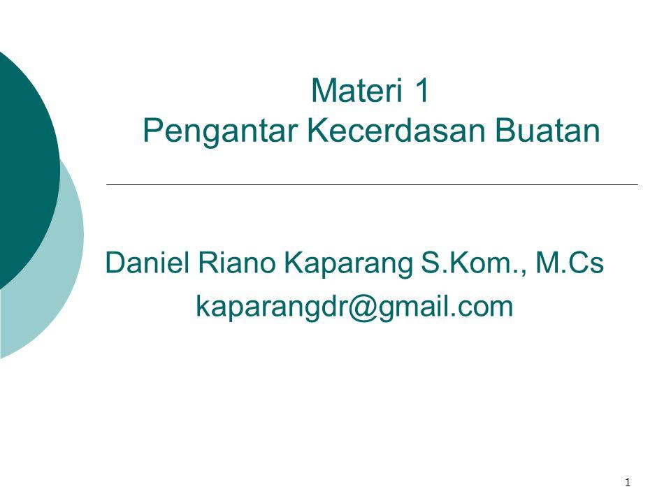 1 Materi 1 Pengantar Kecerdasan Buatan Daniel Riano Kaparang S.Kom., M.Cs kaparangdr@gmail.com