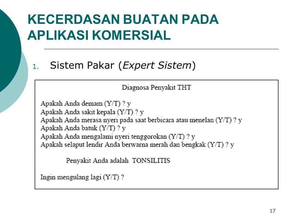 17 KECERDASAN BUATAN PADA APLIKASI KOMERSIAL 1. Sistem Pakar (Expert Sistem)