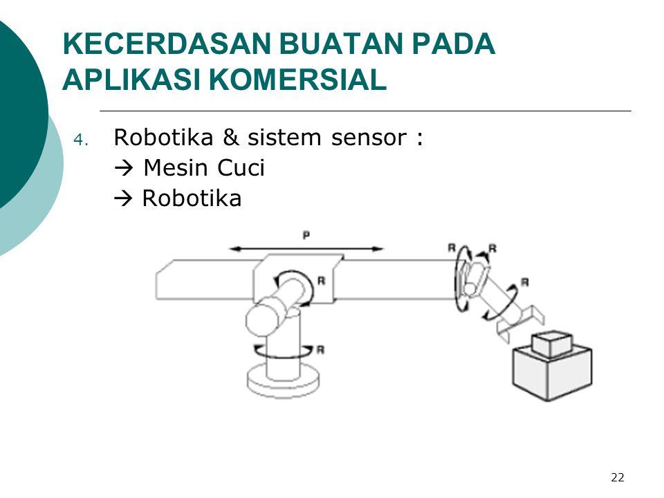 22 KECERDASAN BUATAN PADA APLIKASI KOMERSIAL 4. Robotika & sistem sensor :  Mesin Cuci  Robotika