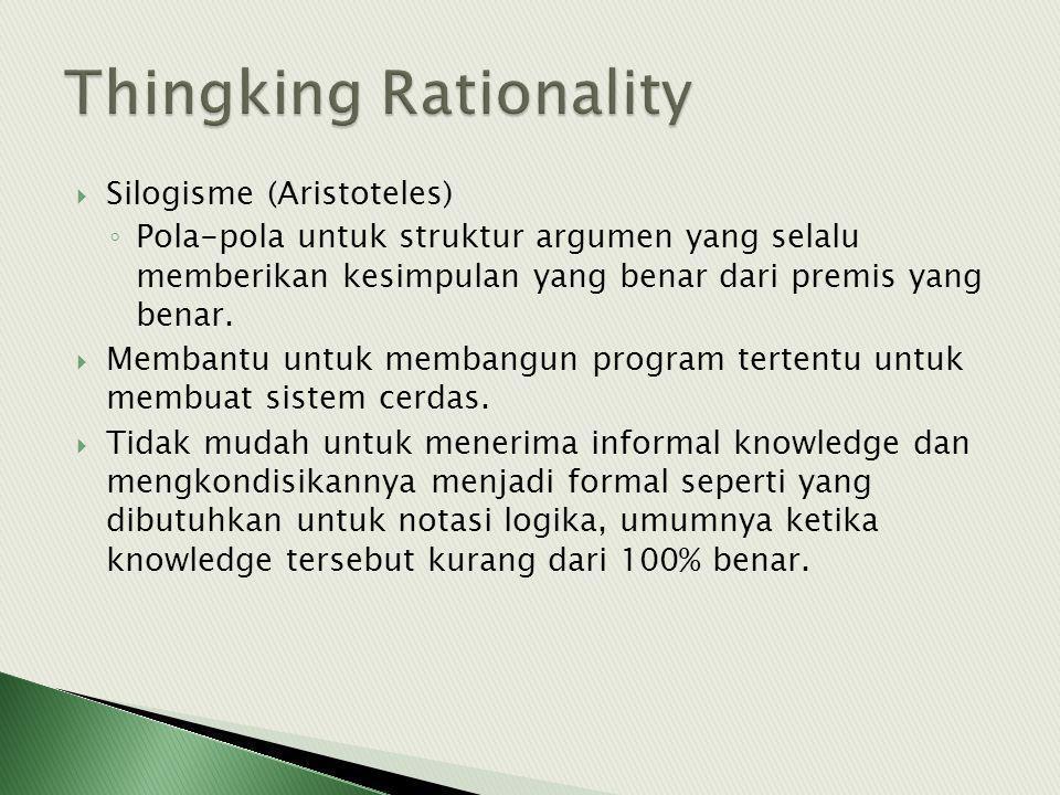  Silogisme (Aristoteles) ◦ Pola-pola untuk struktur argumen yang selalu memberikan kesimpulan yang benar dari premis yang benar.