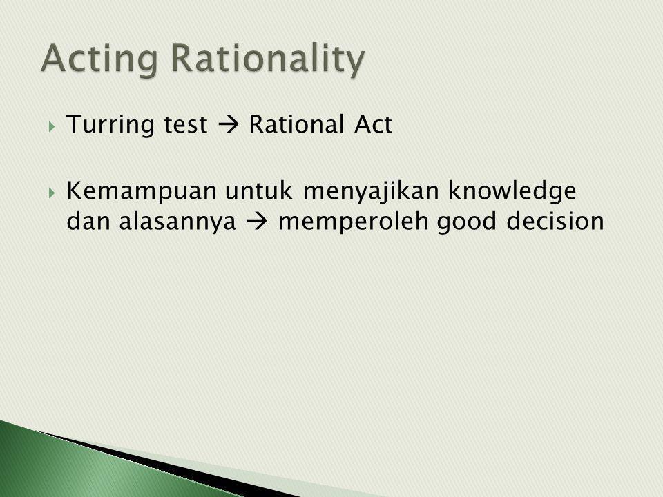  Turring test  Rational Act  Kemampuan untuk menyajikan knowledge dan alasannya  memperoleh good decision
