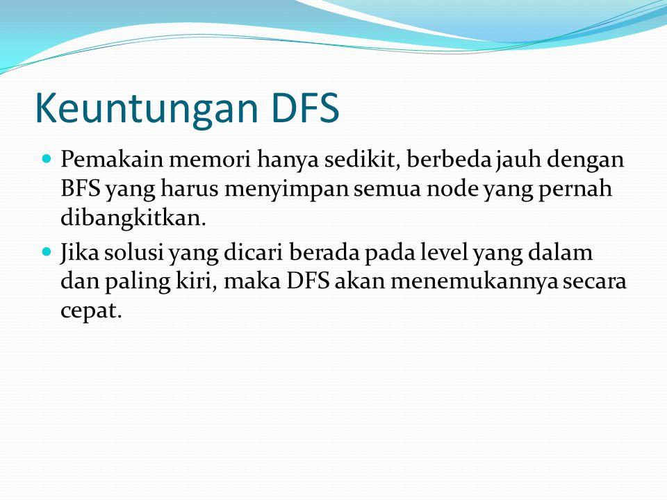Keuntungan DFS Pemakain memori hanya sedikit, berbeda jauh dengan BFS yang harus menyimpan semua node yang pernah dibangkitkan. Jika solusi yang dicar
