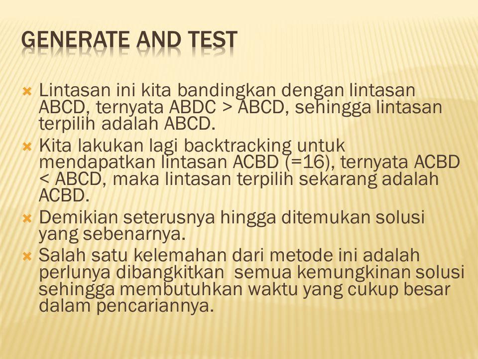  Lintasan ini kita bandingkan dengan lintasan ABCD, ternyata ABDC > ABCD, sehingga lintasan terpilih adalah ABCD.  Kita lakukan lagi backtracking un