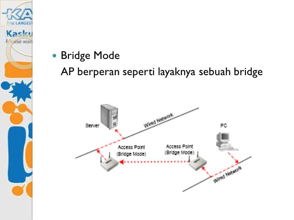 Bridge Mode AP berperan seperti layaknya sebuah bridge
